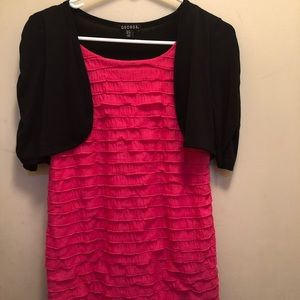 Adorable pink ruffled with attached black jacket